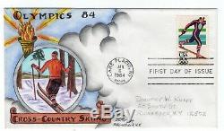 #2069 Olympics Cross-Country Skiing Dorothy Knapp Hand Painted Cachet 1984 FDC