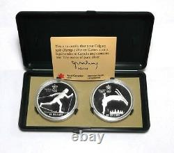 2 1988 Calgary CND FreeStyle Cross-Country Skiing Silver 1 Oz $20 Coin Proof Set