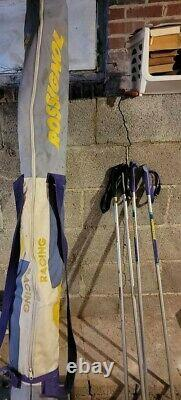 80's Rossignol Racing CROSS COUNTRY SKIS 205 & 210 with Bindings, Poles & Bag NEW