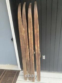 Antique Lot Of 2 Pair WOODEN Skis 70 Long Paris Mfg Maine Snow Cross Country