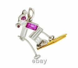 Art Deco Ruby Diamond 18 Karat Gold Platinum Cross Country Skiing Charm