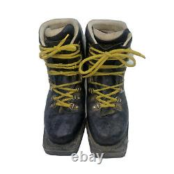Asolo Sport Extreme Vtg Cross Country Ski Boots Black Leather 8 M Italy 3 Pin