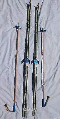 BARELY USED 190 cm Skilom WOODEN Cross Country Skis MOHAIR FUR Bamboo Poles VTG