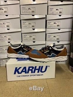 Karhu Aria Suede Ski Cross Country Brown Blue UK 8 US 9 Finland Fusion Synchron