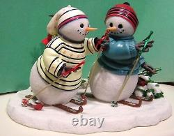 LENOX CROSS COUNTRY CREW New in Box withCOA Bywaters SNOWMAN SKIING Sculpture Ski