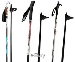 NEW EXPLORER XC cross country 75mm SKIS/BINDINGS/BOOTS/POLES PACKAGE 180cm