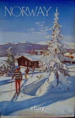 NORWAY CROSS COUNTRY SKIING Vintage 1960 Travel Tourism poster 25x40