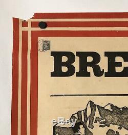 Original Vintage Poster BRETAYE Swiss Cross Country Ski Travel Switzerland RARE