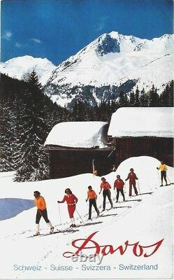 Original vintage poster DAVOS GRISONS ALPS CROSS COUNTRY SKI c. 1965
