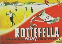 Original vintage poster ROTTEFELLA SWEDISH CROSS COUNTRY SKIING 1945