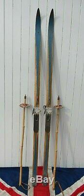 RARE CROSS COUNTRY ANTIQUE VINTAGE WOODEN SKIS & POLES SKI SKIING PROP 190cm
