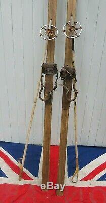 RARE CROSS COUNTRY SKIING ANTIQUE VINTAGE OLD WOODEN SKIS & POLES 201cm