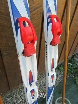 Ready to Use Cross Country 50 TECNO 130 cm Skis WAXLESS Base + Poles + NNN