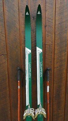 Ready to Use Cross Country 72 LAMPINEN 185 cm Skis WAXLESS Base + Poles