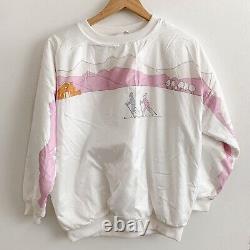 Vintage 80s 90s Adidas Cross Country Ski Mountain Crew Sweatshirt White Pink