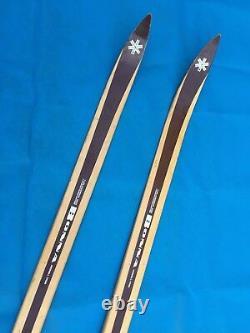 Vintage Bonna 1700 Hickory Wood Cross Country Skis 185 cm Tyrol 3-Pin Bindings