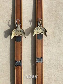 Vintage Bonna Wooden Cross Country Skis Model 2000 Made In Norway Troll 190s