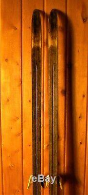 Vintage HEAD LT 185-cm Wood NORWAY Cross-Country Skis withSKILOM 3-pin Bindings