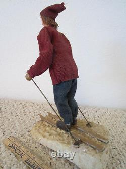 Vintage Hand Made Heavy Paper Mache Sculpture Of Cross Country Ski Figure