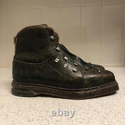Vintage Henry Ours Paris Leather Lace Up Cross Country Ski Boots Mens Size 9