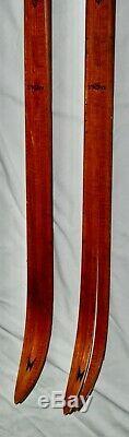 Vintage Madshus Birke Beiner Wooden Cross Country Snow Skis Norway Wood 79 Ski