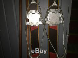 Vintage Madshus Cross Country Wooden Skis with Poles RARE HTF Metal Bindings