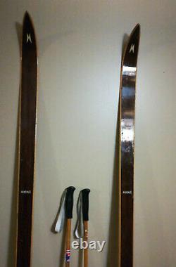 Vintage Madshus Wooden Cross Country Skis Wood Made In Norway W Ljedahl Poles