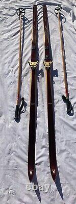 Vintage Madshus Wooden Cross Country Skis Wood Made In Norway With Skilom Poles