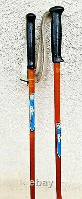 Vintage Set of 2 EIGER Bamboo Wood Ski Poles Leather Straps 58 Long Norway