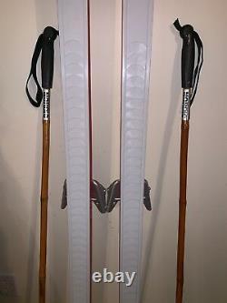 Vintage Soma Wood Core Cross Country Skis 190cm Japan Skilom 75mm Bindings USA