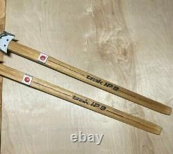 Vintage WOODEN Skis'Trak HP 9' 77 Long Downhill Cross Country Finland Made