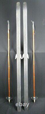 Vintage Wooden HUSKI USA Ranger Wooden Cross Country Skis 177 cm with Bamboo Poles