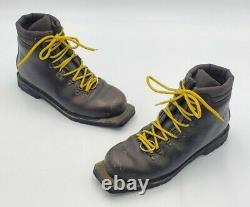 Vtg Asolo Snowfield II Telem 3 Pin 75mm Leather Cross Country Ski Boots Size 10