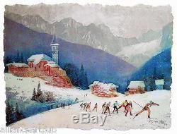 Worldcup NORDIC (Cross Country) SKIING 3 Pcs. Etchings S/N By Mikulas Kravjansky